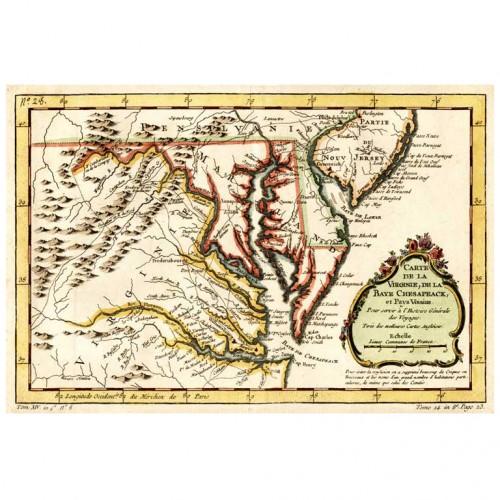 Carte de la Virginie, de la Baye Chesapeack, d. 1757
