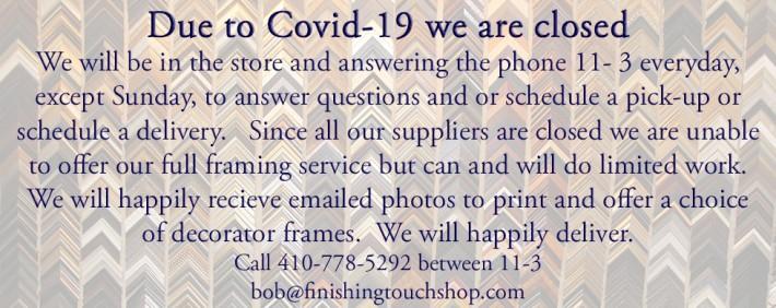 Covid19 closing & information